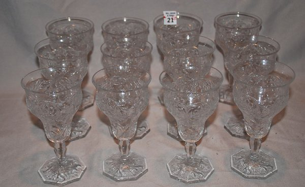 1021: 12 pressed glass fancy water glasses, 8 sided bas