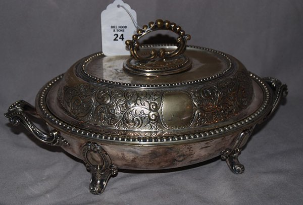 1024: Silver Plated heavily decorated, footed, covered