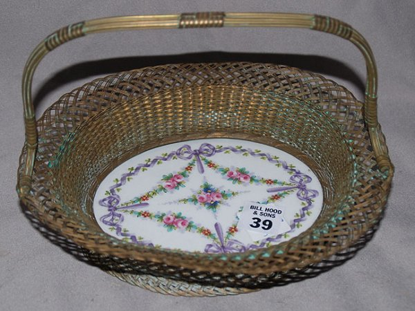 1039: French wire basket with hand painted porcelain ba