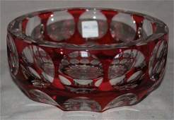 1048: Cranberry cut to clear glass bowl by Saint Louis,