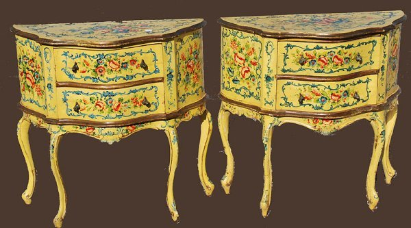 1111: Pair of Venetian Style 1900's painted two drawer