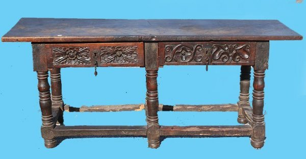 1115: 18th cent. Spanish Colonial Walnut table with 2 s