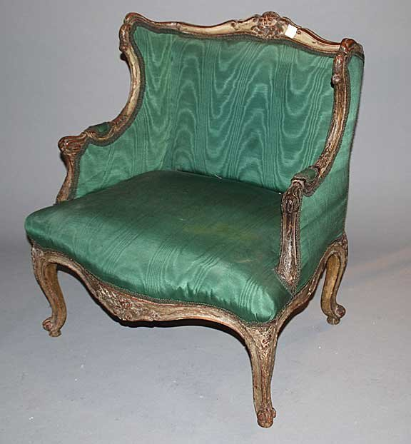 1178: Antique French Chair with green upholsty worn pai