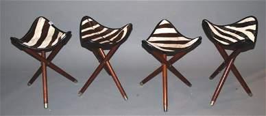 1371 4 four 3 legged triangular shape Zebra skin sto