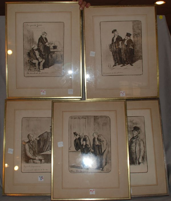 "2005: 5 etchings, "" Monchere Daumier Confiere, Physiono"