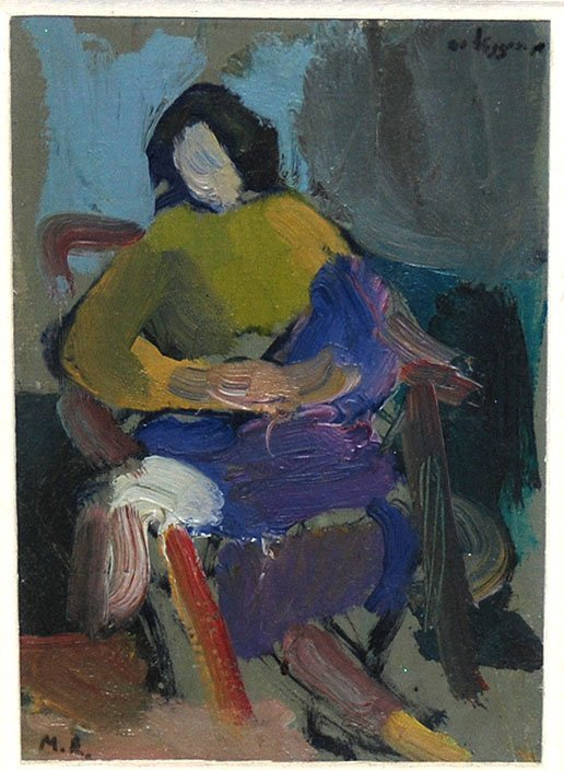 2010: Signed MR American school oil on cardboard seated
