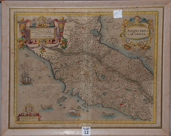 2012: 16th / 17th cent. Map of Europe under glass, 14""