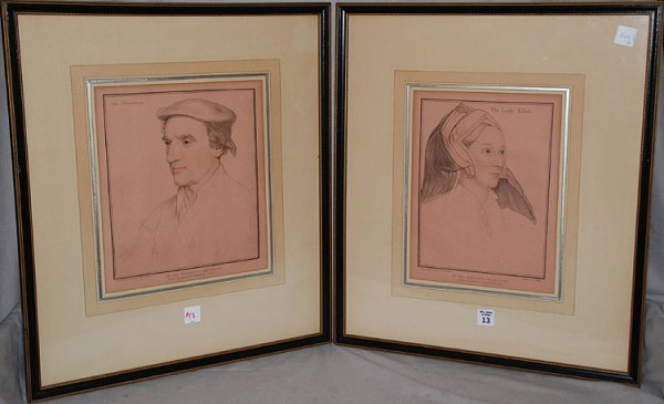 2013: From originals by Hans Holbien, pair of antique e