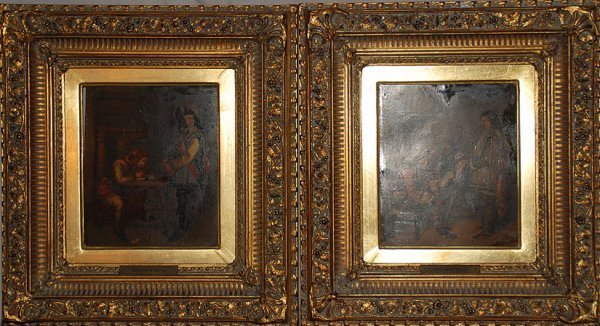 2021: Pair of paintings on copper, signed C.R, Constant