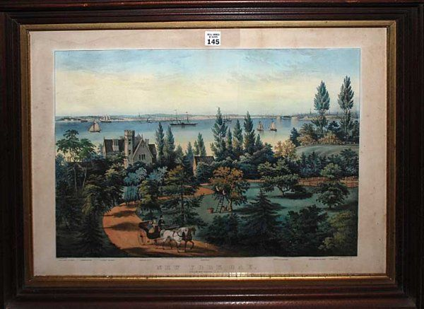 """2145: Currier & Ives lithograph, """"New York Bay"""", 15"""" x"""