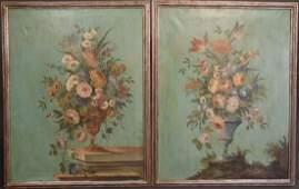 Pair of Vintage Italian Floral Paintings. oil on canvas