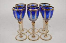 6 MOSER BOHEMIAN GLASS WINE GOBLETS.  Each glass with