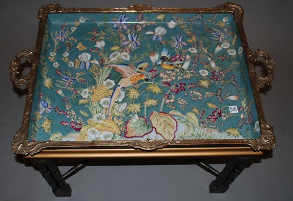 24: Large porcelain & bronze tray table, birds & floral