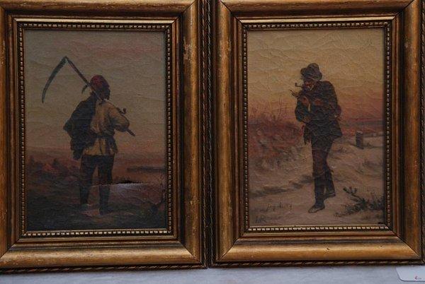2006: Pair oil on canvas, 19th cent, 2 men initial L.R.