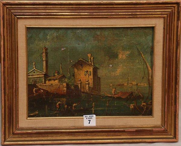 "2007: Italian School, oil on canvas, Venice port, 8"" x"