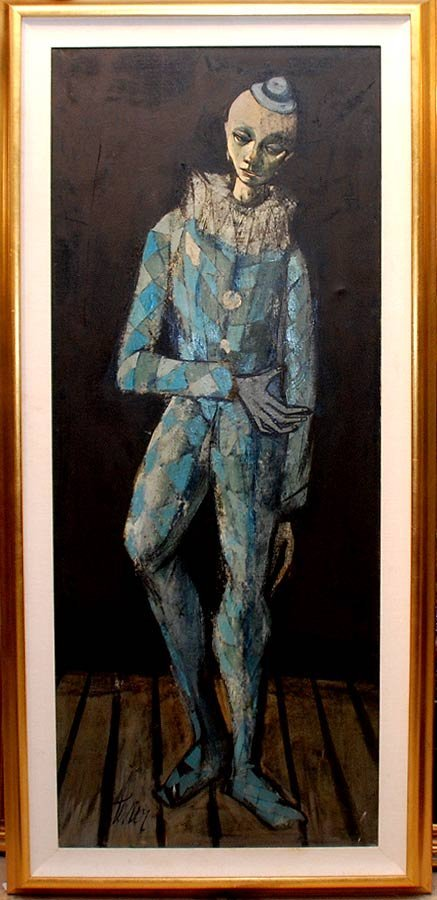 2019: Charles Levier, 1920-France, oil on canvas, clown