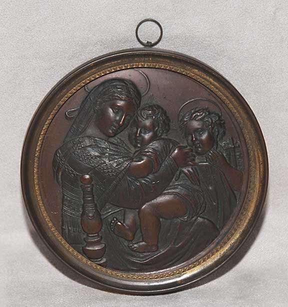 1001: Brass and copper round medallion of Virgin Mary,