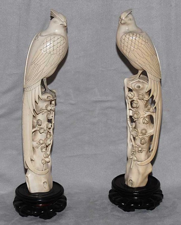 """1004: Pair ivory carved perched birds, 14""""h"""