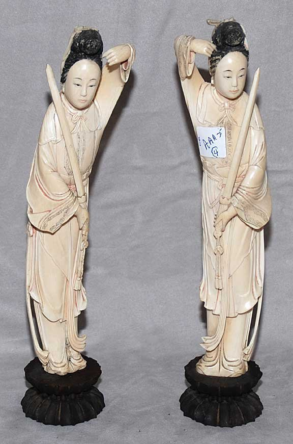 """1005: 2 ivory carved female figures with swords, 14""""h"""