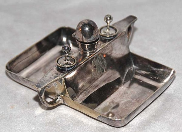 1015: Silver plate monogrammed desk accessory