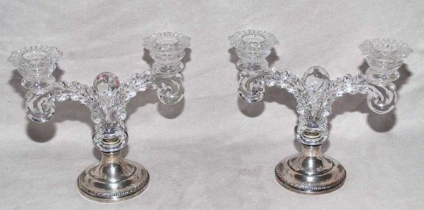 1019: Pair sterling base double branch glass candelabra