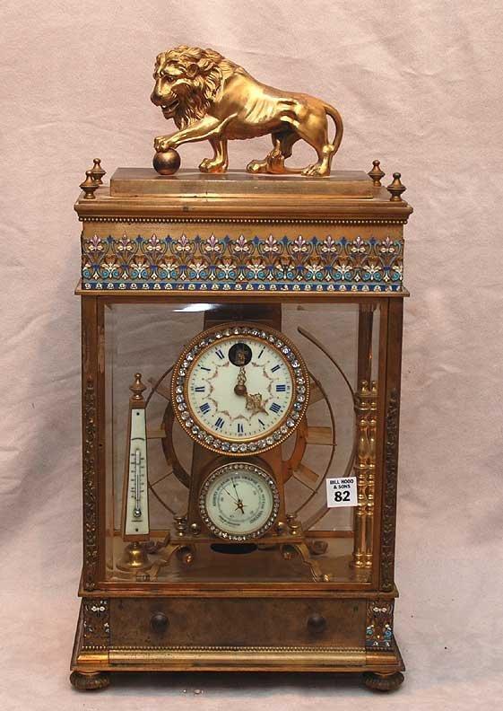 1082: French Gilt bronze crystal regulator ball clock