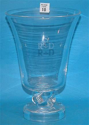 Signed Steuben large crystal vase, monogrammed RS
