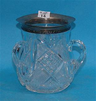 (3) Handled cut glass loving cup with sterling co