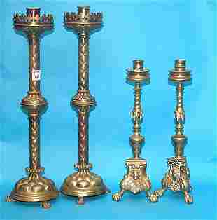 (2) Late sets of highly designed brass footed can