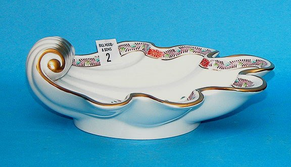"1002: Herend decorated candy dish, 8 1/2""l x 8 1/2""w"