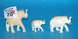 "Set of (10) ivory elephants, tallest is 1 3/4""h,"