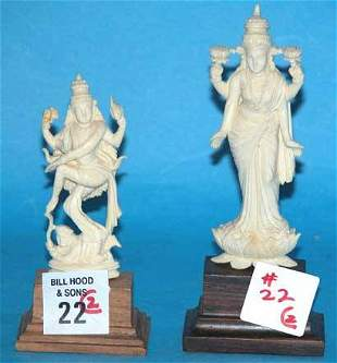 """(2) Pieces of ivory, incl: 4""""h deity and 3""""h deit"""