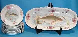 (9) Piece Austrian porcelain fish service, incl
