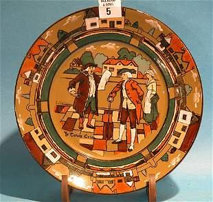 """Buffalo pottery figure (Delaware ware) """"Ye Town C"""
