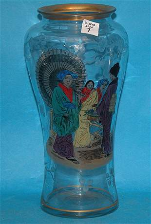 Unusual American, etched and enameled art nouveau