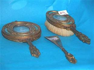 (3) French bronze enamel and ivory dresser items