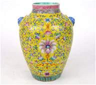 A Fine Qing Famille Rose Enameled Porcelain Vase. The