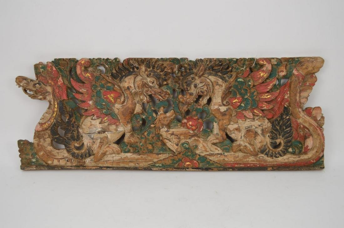 Chinese Shanxi Architectural Helm Wood Polychrome