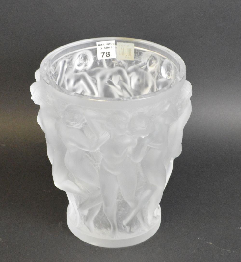 """Lalique Bacchantes vase, 10""""h x 7 1/2""""dia"""