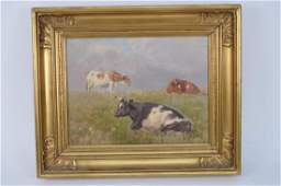 Mid 20th Century Landscape with 3 cows oil on canvas