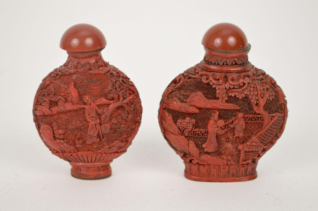 Pair of Antique Carved Cinnabar Snuff Bottles. The