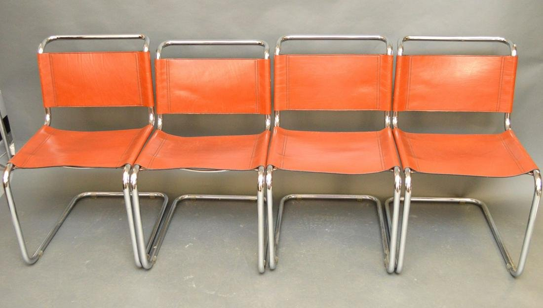4 Modern Knoll Marcel Breuer leather and chrome chairs
