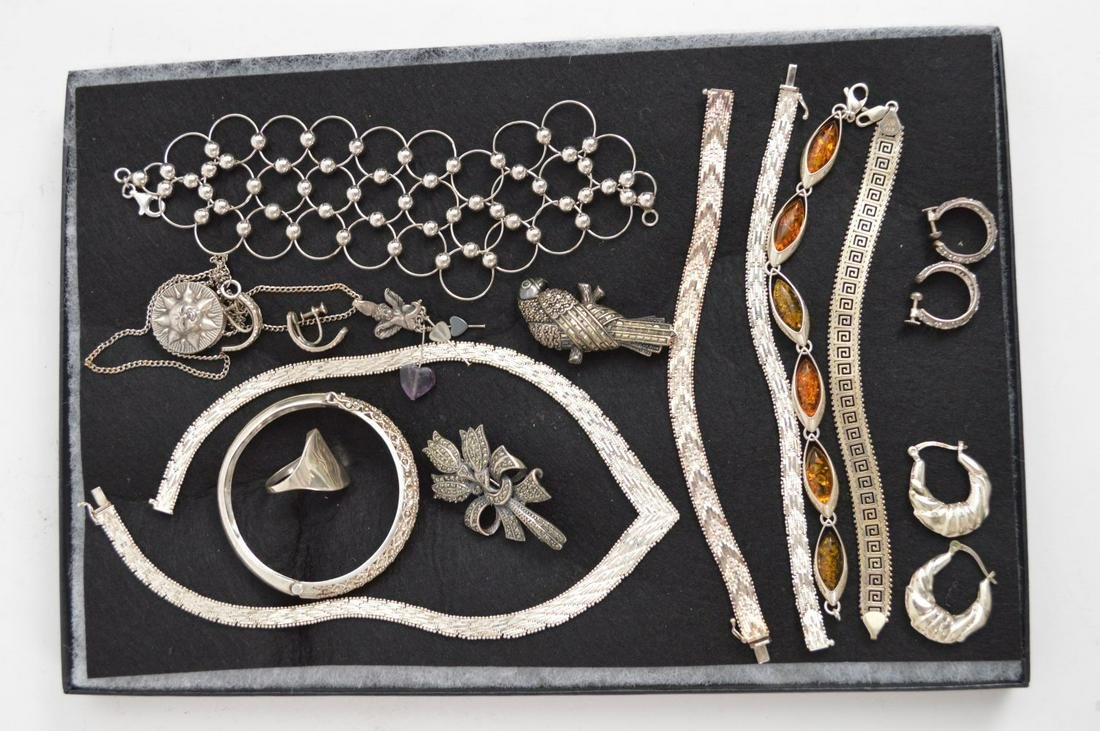 Sterling Silver Mixed Jewelry Lot. Pins, Earrings,