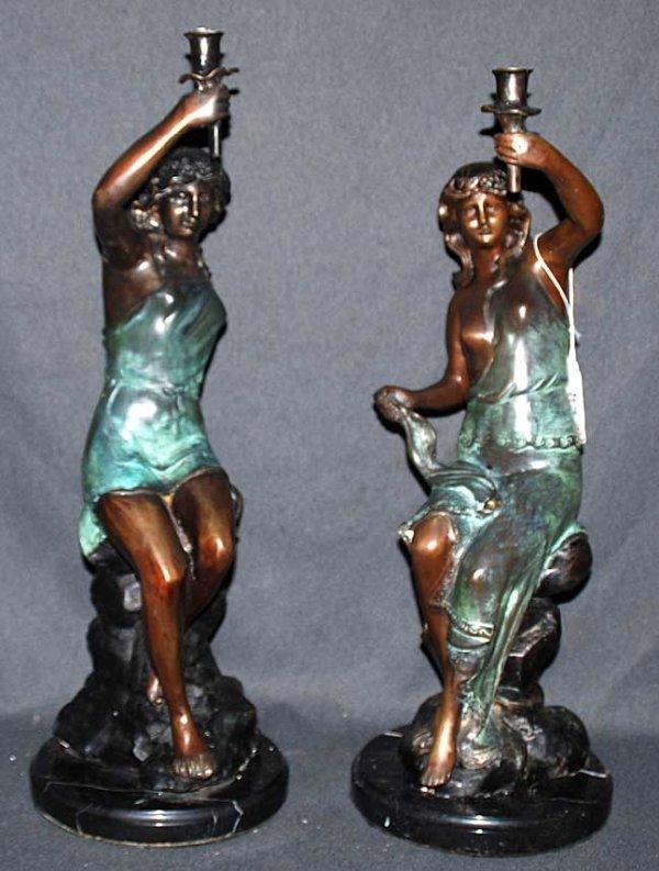 14: Pair of bronze figural candleholders seated ladies,