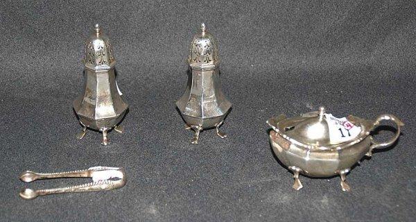 17: 4 sterling items; Tiffany tongs, salt & pepper, cov