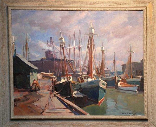 133: Emile Albert Gruppe AMERICAN  Gloucester harbor