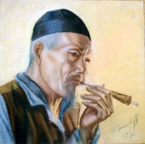 132C: Russian Pastel Painting of man smoking illegible