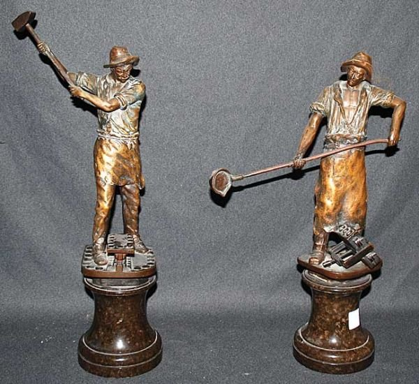 001A: Pair of bronze workers, marble bases. Signed Scha