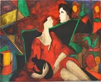 """Linda Le Kinff, oil on wood panel, """"Oscar Anita et Leon"""