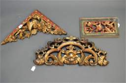 3 ANTIQUE CHINESE CARVED GILTWOOD PANNELS.  One L